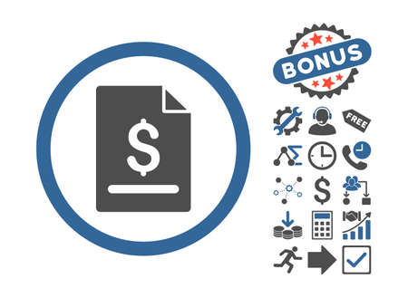 indenture: Invoice Page pictograph with bonus pictogram. Vector illustration style is flat iconic bicolor symbols, cobalt and gray colors, white background.