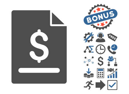 cobalt: Invoice Page icon with bonus pictures. Vector illustration style is flat iconic bicolor symbols, cobalt and gray colors, white background.