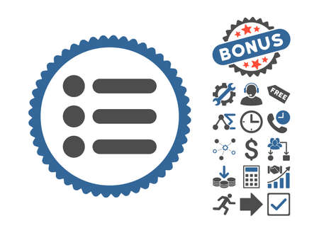 numerate: Items icon with bonus symbols. Vector illustration style is flat iconic bicolor symbols, cobalt and gray colors, white background.