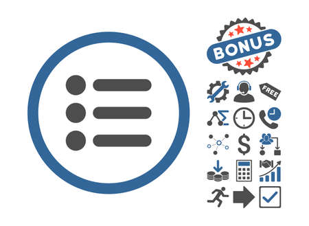 item list: Items icon with bonus images. Vector illustration style is flat iconic bicolor symbols, cobalt and gray colors, white background.