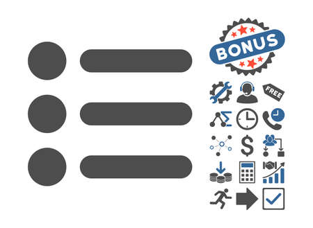 Items pictograph with bonus icon set. Vector illustration style is flat iconic bicolor symbols, cobalt and gray colors, white background. Illustration