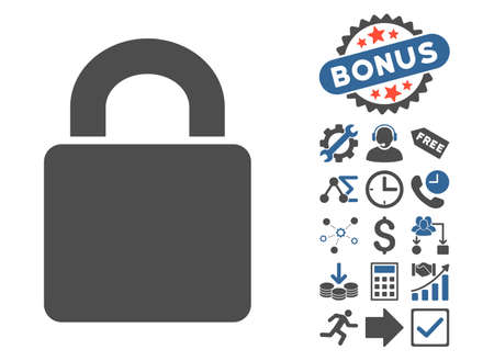 registry: Lock pictograph with bonus design elements. Vector illustration style is flat iconic bicolor symbols, cobalt and gray colors, white background. Illustration