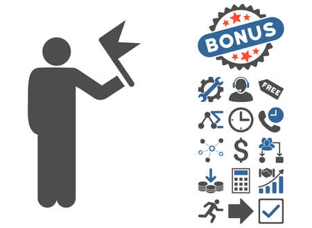 general manager: Man With Flag pictograph with bonus images. Vector illustration style is flat iconic bicolor symbols, cobalt and gray colors, white background. Illustration