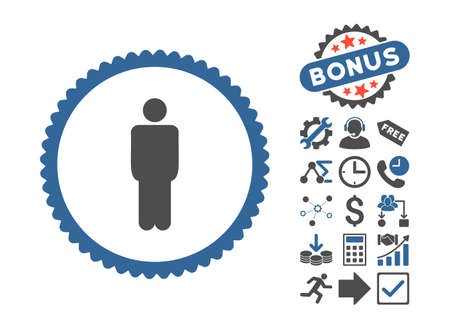 Man pictograph with bonus pictogram. Vector illustration style is flat iconic bicolor symbols, cobalt and gray colors, white background.