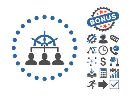government regulations: Management pictograph with bonus elements. Vector illustration style is flat iconic bicolor symbols, cobalt and gray colors, white background. Illustration