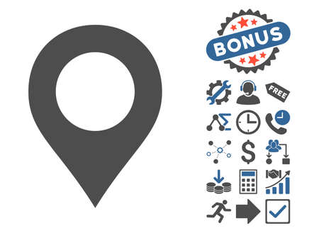 Map Marker icon with bonus pictogram. Vector illustration style is flat iconic bicolor symbols, cobalt and gray colors, white background.