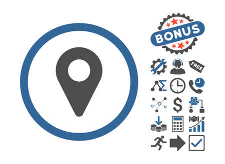 coordinates: Map Marker icon with bonus clip art. Vector illustration style is flat iconic bicolor symbols, cobalt and gray colors, white background. Illustration