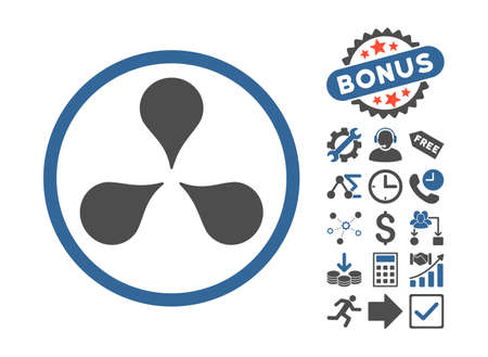 Map Markers icon with bonus images. Vector illustration style is flat iconic bicolor symbols, cobalt and gray colors, white background.