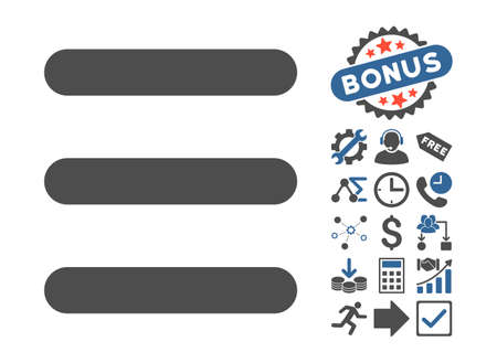 Menu Items icon with bonus pictograph collection. Vector illustration style is flat iconic bicolor symbols, cobalt and gray colors, white background.