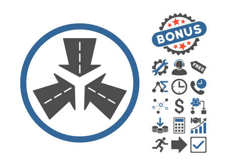 shrink: Merge Directions icon with bonus pictures. Vector illustration style is flat iconic bicolor symbols, cobalt and gray colors, white background. Illustration