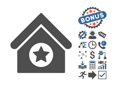 cobalt: Military Building pictograph with bonus pictogram. Vector illustration style is flat iconic bicolor symbols, cobalt and gray colors, white background.