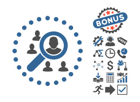 lookup: Marketing icon with bonus pictograph collection. Vector illustration style is flat iconic bicolor symbols, cobalt and gray colors, white background.