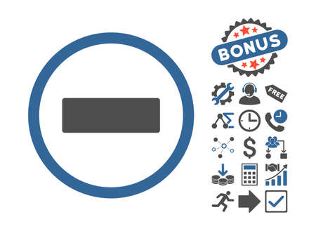 subtract: Minus icon with bonus pictogram. Vector illustration style is flat iconic bicolor symbols, cobalt and gray colors, white background.