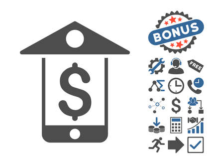 Mobile Bank pictograph with bonus elements. Vector illustration style is flat iconic bicolor symbols, cobalt and gray colors, white background. Illustration