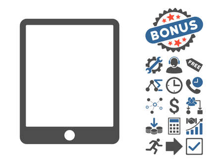 cobalt: Mobile Tablet pictograph with bonus symbols. Vector illustration style is flat iconic bicolor symbols, cobalt and gray colors, white background. Illustration