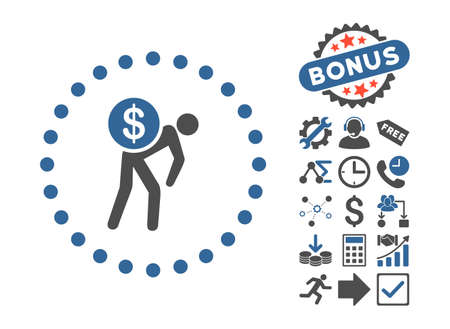 Money Courier icon with bonus pictogram. Vector illustration style is flat iconic bicolor symbols, cobalt and gray colors, white background.