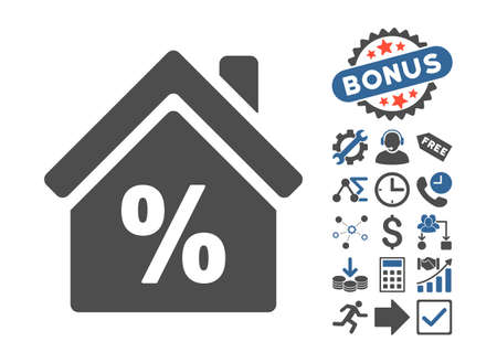 partial: Mortgage Discount pictograph with bonus elements. Vector illustration style is flat iconic bicolor symbols, cobalt and gray colors, white background.