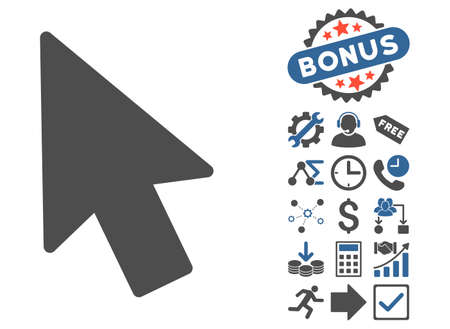 mouse pointer: Mouse Pointer pictograph with bonus symbols. Vector illustration style is flat iconic bicolor symbols, cobalt and gray colors, white background.