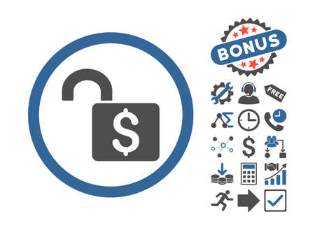 decrypt: Open Banking Lock pictograph with bonus design elements. Vector illustration style is flat iconic bicolor symbols, cobalt and gray colors, white background. Illustration