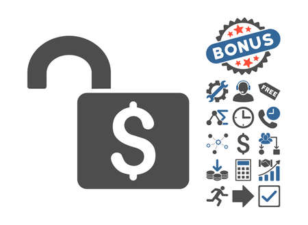 decrypt: Open Banking Lock icon with bonus pictograph collection. Vector illustration style is flat iconic bicolor symbols, cobalt and gray colors, white background.