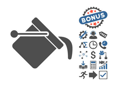 Paint Bucket pictograph with bonus pictures. Vector illustration style is flat iconic bicolor symbols, cobalt and gray colors, white background.