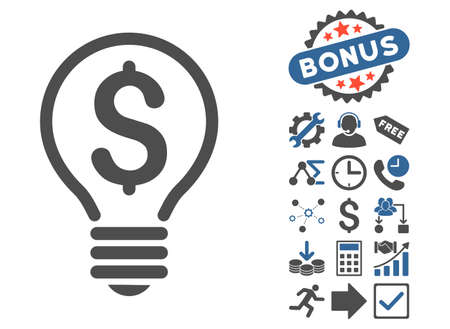 Patent pictograph with bonus pictures. Vector illustration style is flat iconic bicolor symbols, cobalt and gray colors, white background. Illustration