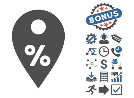 market place: Percent Map Marker pictograph with bonus icon set. Vector illustration style is flat iconic bicolor symbols, cobalt and gray colors, white background. Illustration