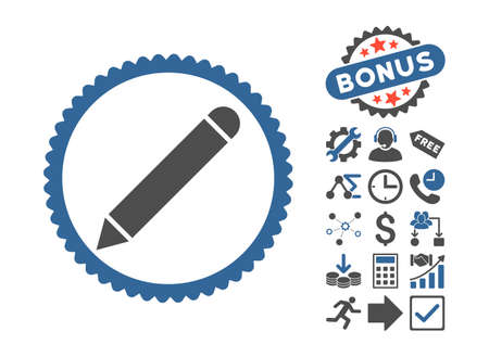 Pencil pictograph with bonus elements. Vector illustration style is flat iconic bicolor symbols, cobalt and gray colors, white background. Illustration