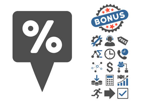 financial position: Percent Map Pointer icon with bonus symbols. Vector illustration style is flat iconic bicolor symbols, cobalt and gray colors, white background. Illustration