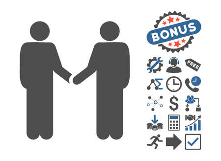 Persons Handshake pictograph with bonus elements. Vector illustration style is flat iconic bicolor symbols, cobalt and gray colors, white background.