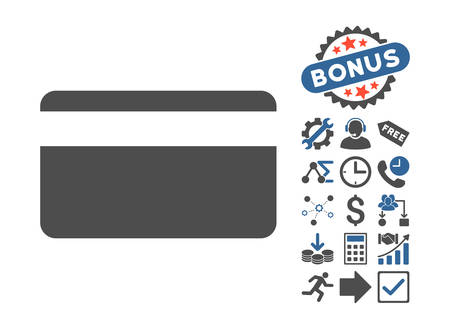 creditcard: Plastic Card pictograph with bonus symbols. Vector illustration style is flat iconic bicolor symbols, cobalt and gray colors, white background.