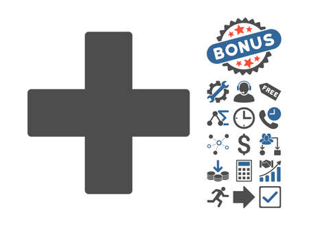 cobalt: Plus pictograph with bonus pictograph collection. Vector illustration style is flat iconic bicolor symbols, cobalt and gray colors, white background. Illustration