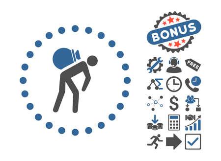 porter: Porter icon with bonus design elements. Vector illustration style is flat iconic bicolor symbols, cobalt and gray colors, white background. Illustration