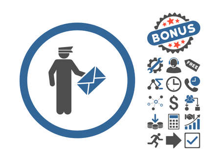 packet driver: Postman pictograph with bonus symbols. Vector illustration style is flat iconic bicolor symbols, cobalt and gray colors, white background.