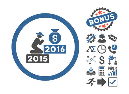 spiritual growth: Pray for Money 2016 pictograph with bonus symbols. Vector illustration style is flat iconic bicolor symbols, cobalt and gray colors, white background.
