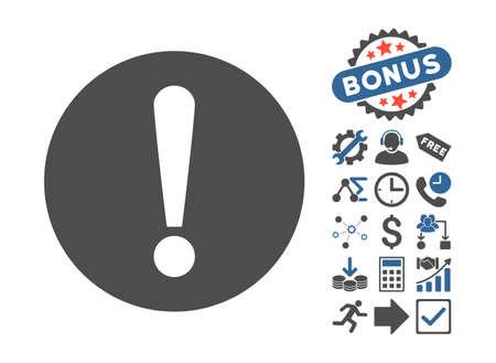 cobalt: Problem pictograph with bonus clip art. Vector illustration style is flat iconic bicolor symbols, cobalt and gray colors, white background.