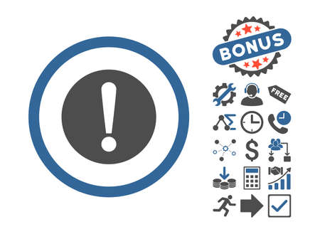 cobalt: Problem icon with bonus pictures. Vector illustration style is flat iconic bicolor symbols, cobalt and gray colors, white background.