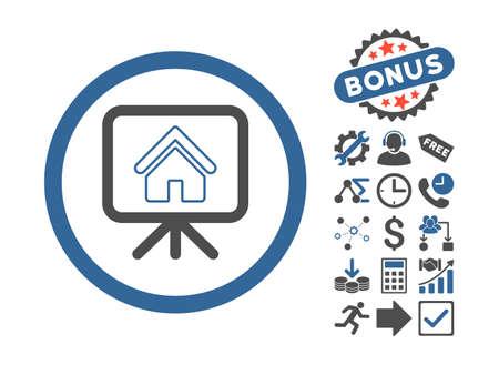 slideshow: Project Slideshow icon with bonus pictogram. Vector illustration style is flat iconic bicolor symbols, cobalt and gray colors, white background. Illustration