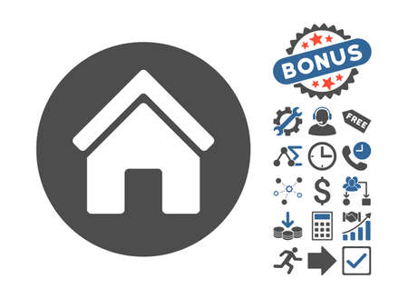 cobalt: Real Estate pictograph with bonus pictogram. Vector illustration style is flat iconic bicolor symbols, cobalt and gray colors, white background. Illustration