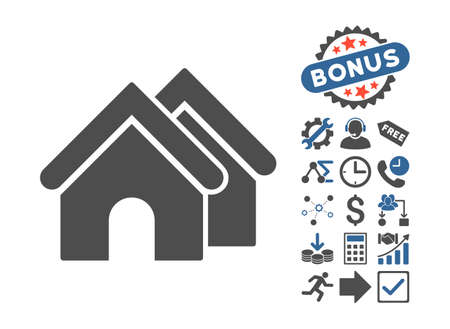 cobalt: Real Estate icon with bonus pictogram. Vector illustration style is flat iconic bicolor symbols, cobalt and gray colors, white background. Illustration