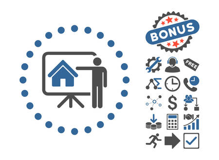 realtor: Realtor Presentation icon with bonus pictures. Vector illustration style is flat iconic bicolor symbols, cobalt and gray colors, white background.