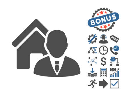 realtor: Realtor pictograph with bonus symbols. Vector illustration style is flat iconic bicolor symbols, cobalt and gray colors, white background.