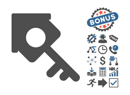 passkey: Realty Access pictograph with bonus design elements. Vector illustration style is flat iconic bicolor symbols, cobalt and gray colors, white background. Illustration