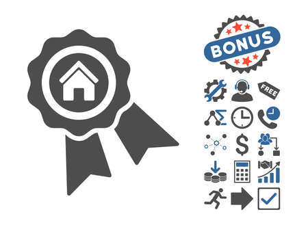 favorite number: Realty Award pictograph with bonus symbols. Vector illustration style is flat iconic bicolor symbols, cobalt and gray colors, white background. Illustration