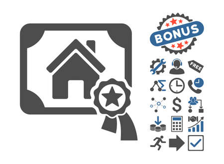 real trophy: Realty Certification icon with bonus elements. Vector illustration style is flat iconic bicolor symbols, cobalt and gray colors, white background. Illustration