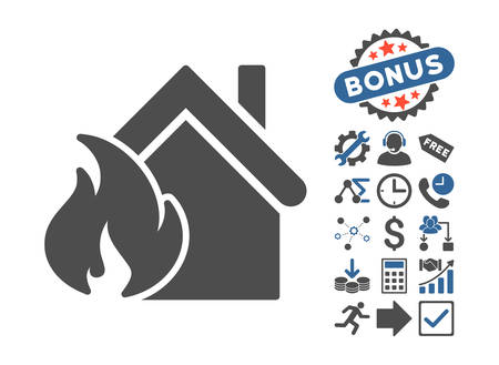 fiasco: Realty Fire Disaster pictograph with bonus icon set. Vector illustration style is flat iconic bicolor symbols, cobalt and gray colors, white background.
