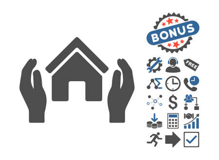 Realty Insurance Hands pictograph with bonus images. Vector illustration style is flat iconic bicolor symbols, cobalt and gray colors, white background. Illustration