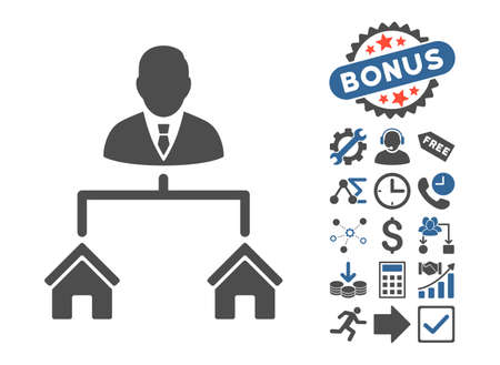 cobalt: Realty Manager icon with bonus elements. Vector illustration style is flat iconic bicolor symbols, cobalt and gray colors, white background. Illustration