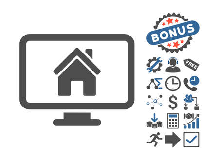 the settlement: Realty Monitoring icon with bonus images. Vector illustration style is flat iconic bicolor symbols, cobalt and gray colors, white background.