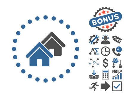 cobalt: Realty icon with bonus design elements. Vector illustration style is flat iconic bicolor symbols, cobalt and gray colors, white background. Illustration